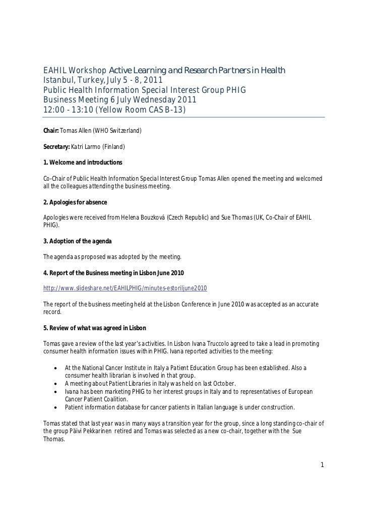 PHIG Istanbul 2011 Workshop  Minutes