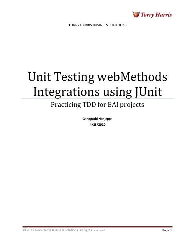 EAI Test Driven Development WebMethods | Torry Harris Whitepaper