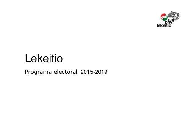 Lekeitio Programa electoral 2015-2019Programa electoral 2015-2019