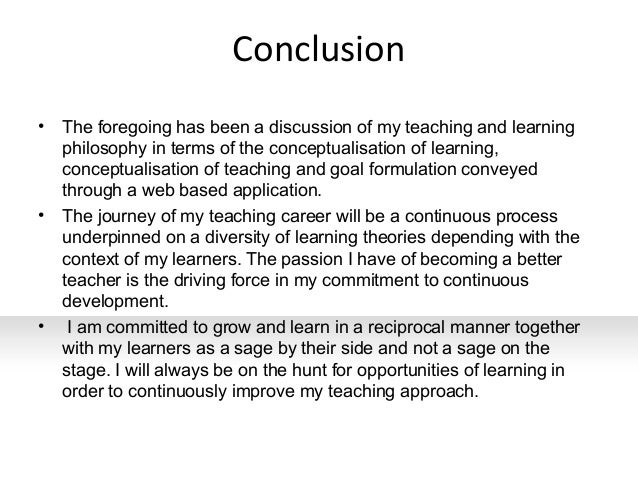 Philosophy of teaching and learning essay