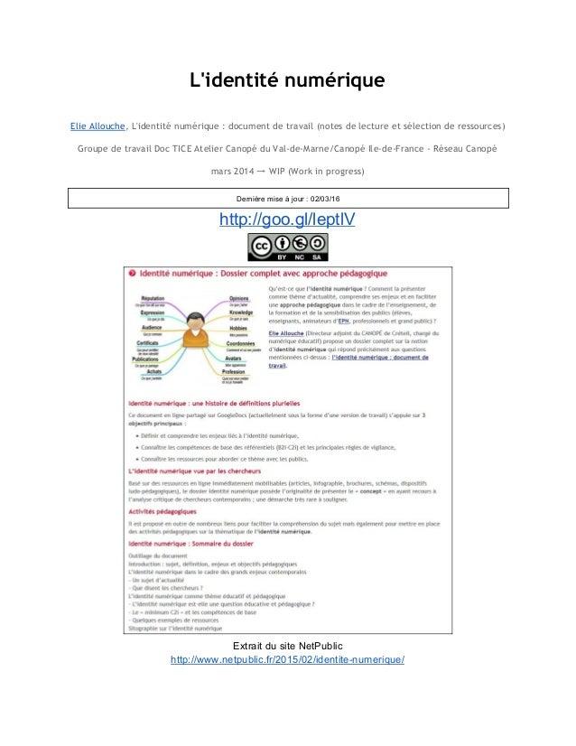 L'identité numérique   Elie Allouche, L'identité numérique : document de travail (notes de lecture et sélection de ress...