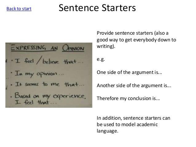 a good sentence starter