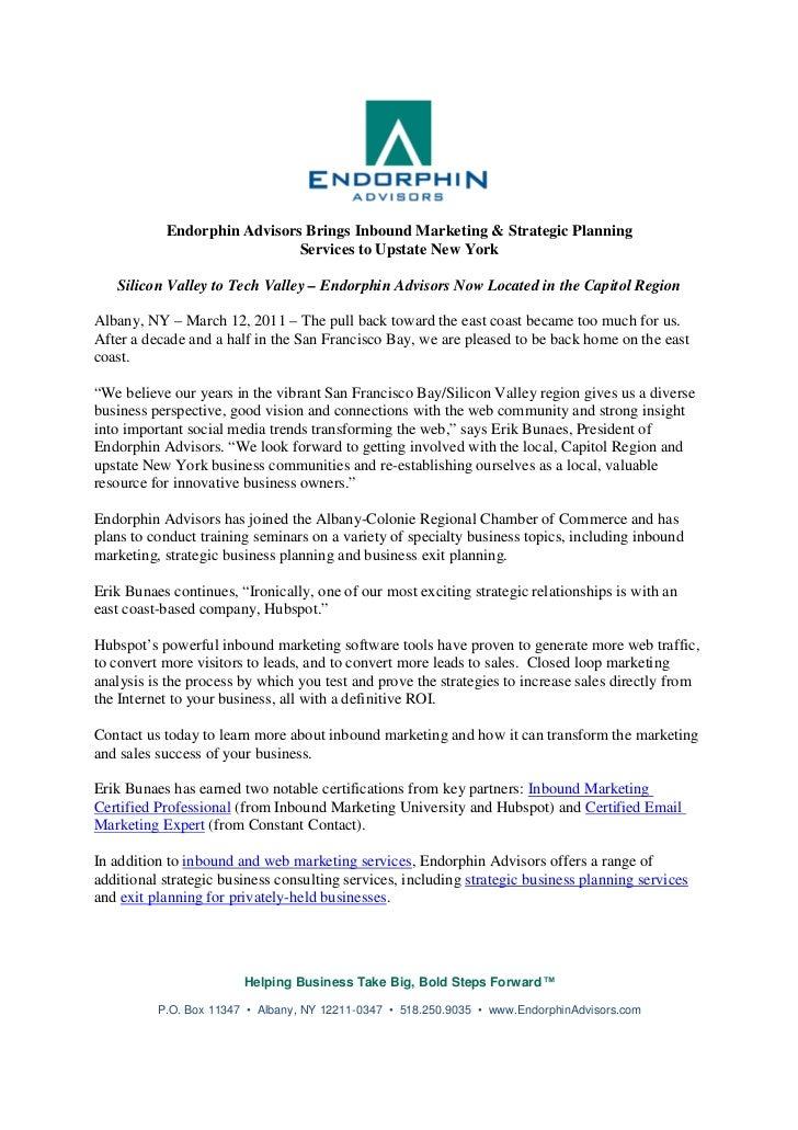 Endorphin Advisors Brings Inbound Marketing & Strategic Planning                             Services to Upstate New York ...