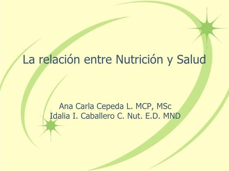 La relación entre Nutrición y Salud<br />Ana Carla Cepeda L. MCP, MSc<br />Idalia I. Caballero C. Nut. E.D. MND<br />