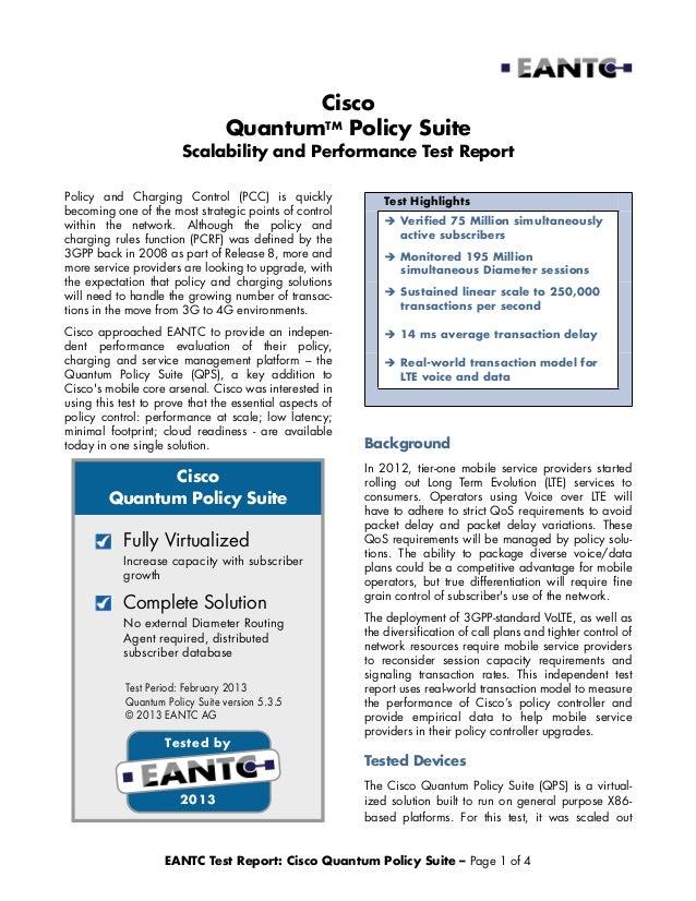 Cisco                                 QuantumTM Policy Suite                        Scalability and Performance Test Repor...