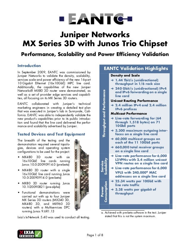 Juniper Networks    MX Series 3D with Junos Trio Chipset  Performance, Scalability and Power Efficiency ValidationIntroduc...