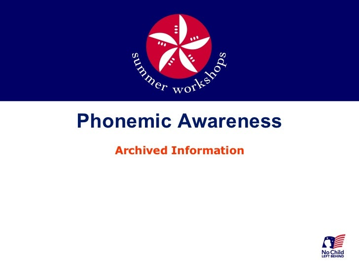 Phonemic Awareness Archived Information