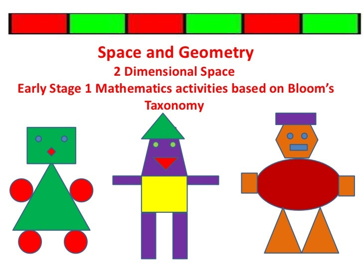 Space and Geometry  <br />2 Dimensional Space<br />Early Stage 1 Mathematics activities based on Bloom's Taxonomy<br />