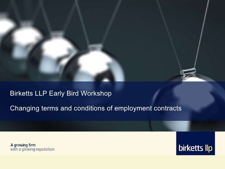 Early Bird - Changing Terms and Conditions of Employment