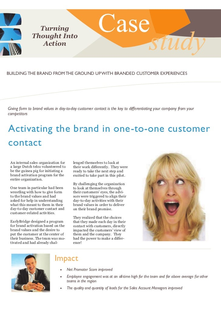EarlyBridge case activating the brand in one to-one customer contact