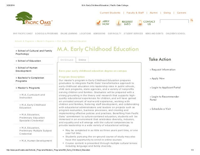 Early childhood education degree masters   pacific oaks college