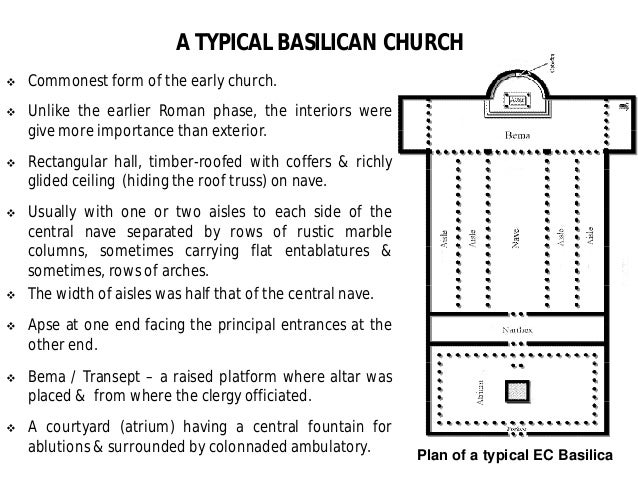 a history and characteristics of the roman basilica and basilican churches Although architectural styles varied from place to place, building to building, there are some basic features that were fairly universal in monumental churches built in the middle ages, and the prototype for that type of building was the roman basilica floor plan of the roman basilica of maxentius and constantine, 308- 312.