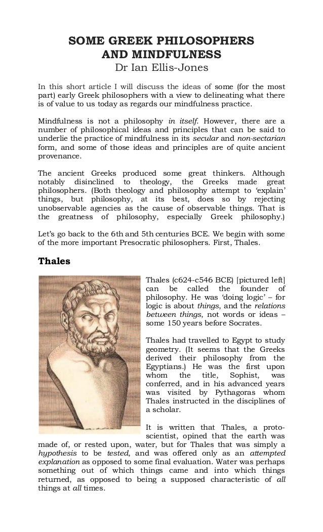 SOME GREEK PHILOSOPHERS AND MINDFULNESS