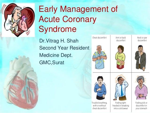 Early Management ofAcute CoronarySyndromeDr.Vitrag H. ShahSecond Year ResidentMedicine Dept.GMC,Surat