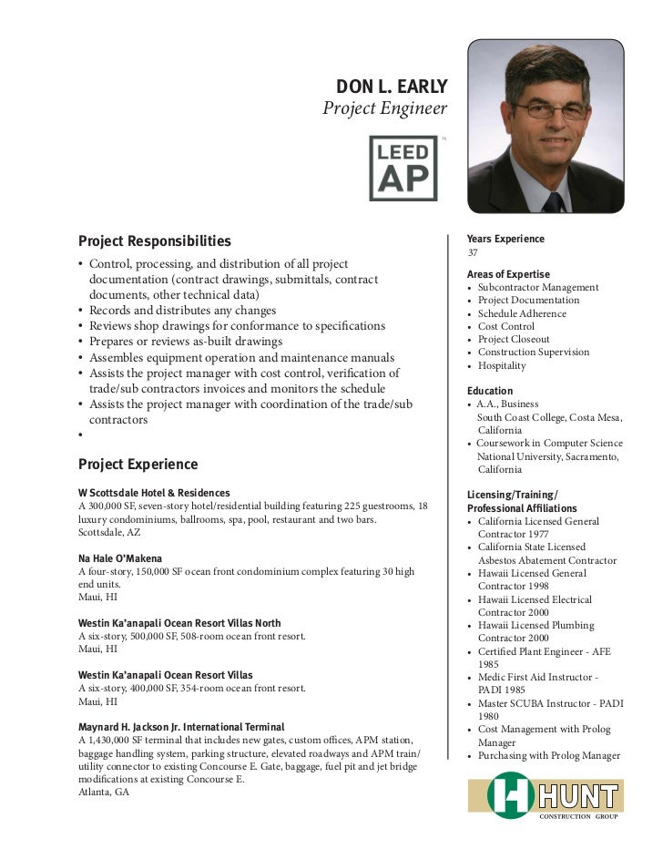 DON L. EARLY                                                         Project EngineerProject Responsibilities             ...