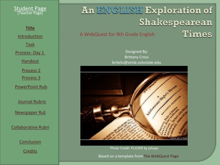 Student Page Title Introduction Task Process- Day 1  Conclusion Credits [Teacher Page] A WebQuest for 9th Grade English De...