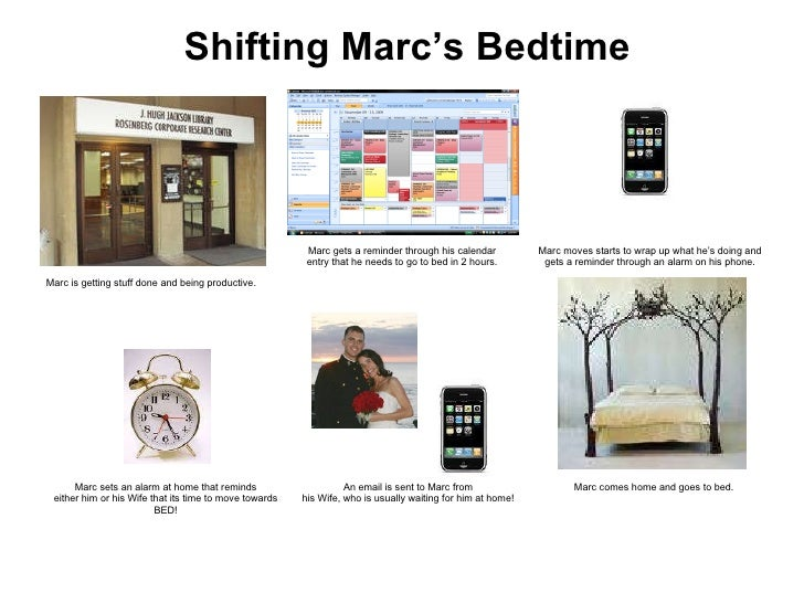 Shifting Marc's Bedtime Marc sets an alarm at home that reminds either him or his Wife that its time to move towards BED! ...