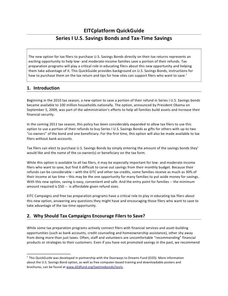 EITCplatform QuickGuide                     Series I U.S. Savings Bonds and Tax-Time Savings    The new option for tax fil...