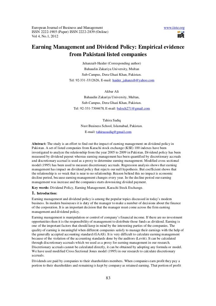 Earning management and dividend policy empirical evidence from pakistani listed companies