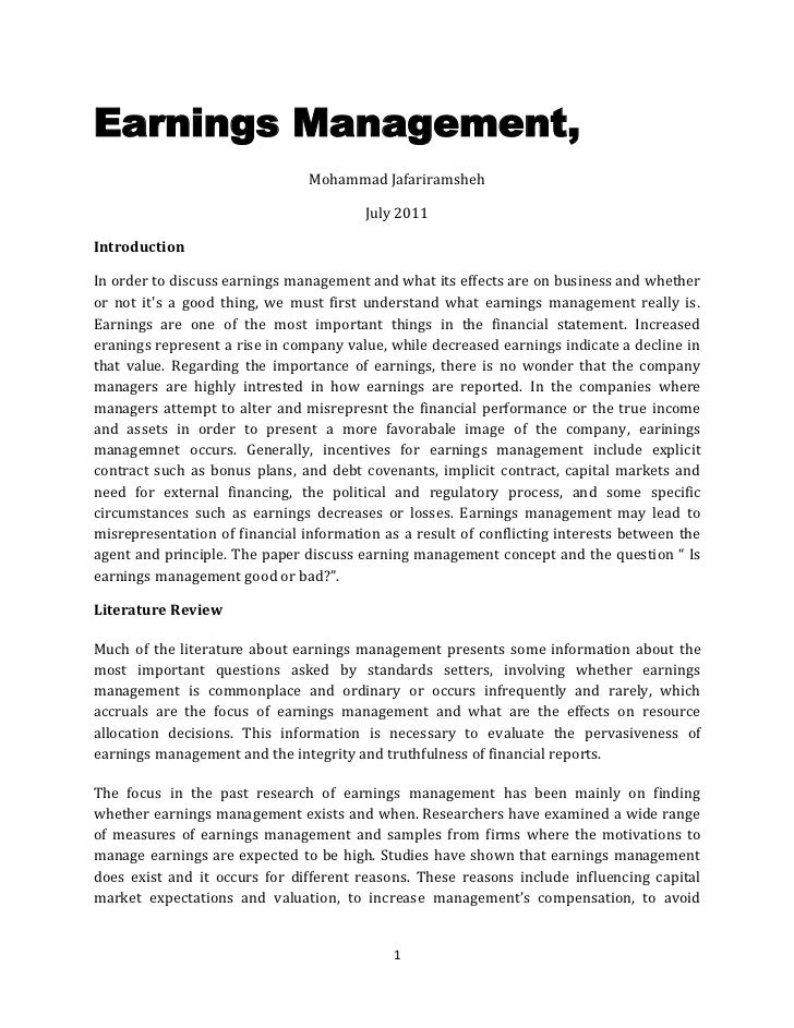 Earnings Management,<br />Mohammad Jafariramsheh<br />July 2011<br />Introduction<br />In order to discuss earnings manage...