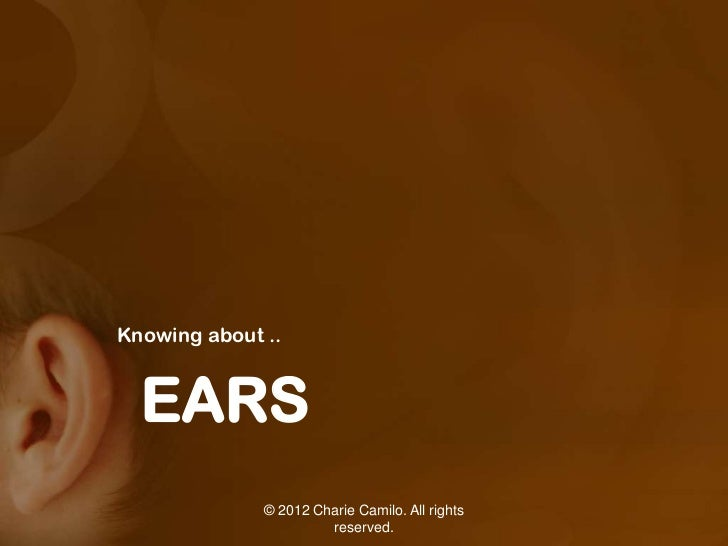 Knowing about ..  EARS              © 2012 Charie Camilo. All rights                       reserved.