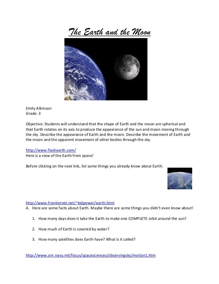 Earth and moon webquest