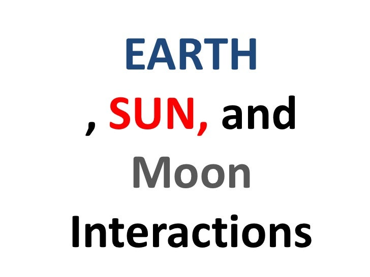 Earth, sun and moon Interactions