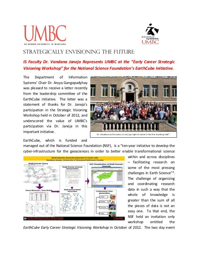 """Strategically envisioning the future:IS Faculty Dr. Vandana Janeja Represents UMBC at the """"Early Career StrategicVisioning..."""