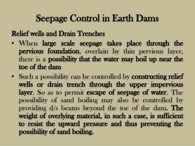Seepage Control Dams Seepage Control in Earth Dams