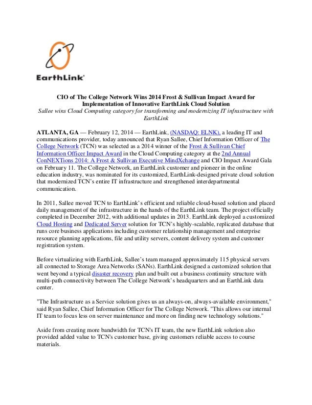 CIO of The College Network Wins 2014 Frost & Sullivan Impact Award for Implementation of Innovative EarthLink Cloud Solution - Press Release