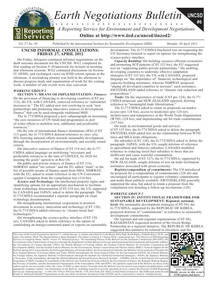 Earth Negotiations Bulletin                                                                                               ...