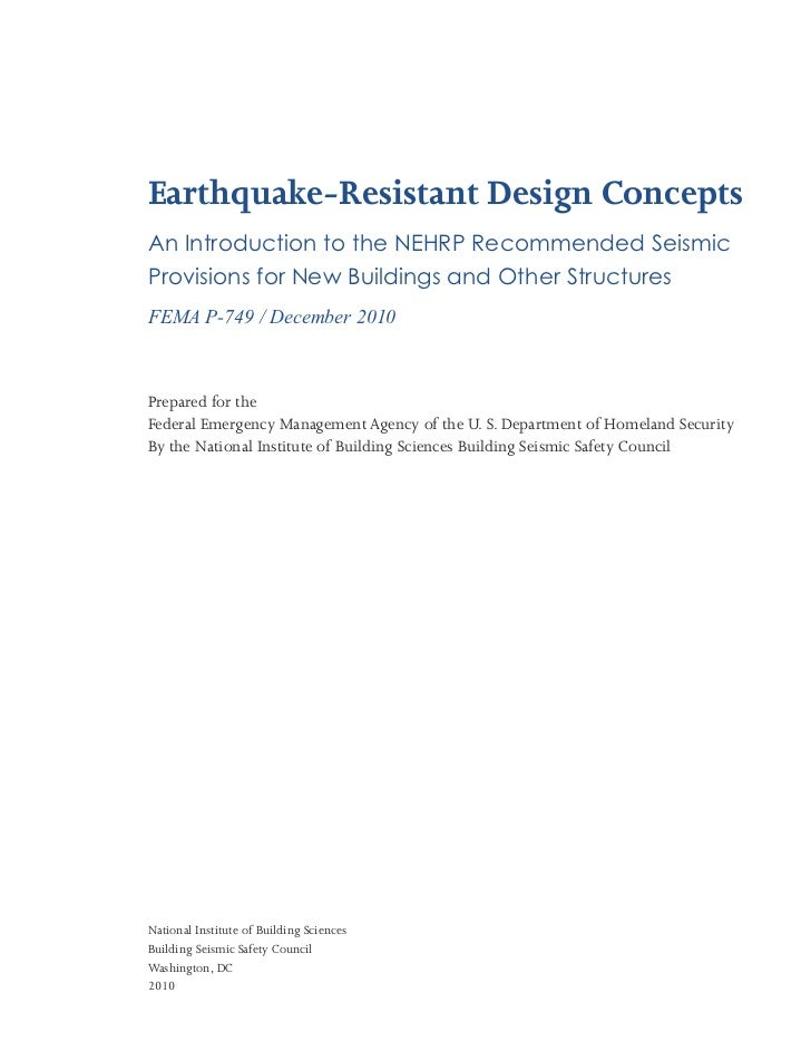 Earthquake-Resistant Design ConceptsAn Introduction to the NEHRP Recommended SeismicProvisions for New Buildings and Other...