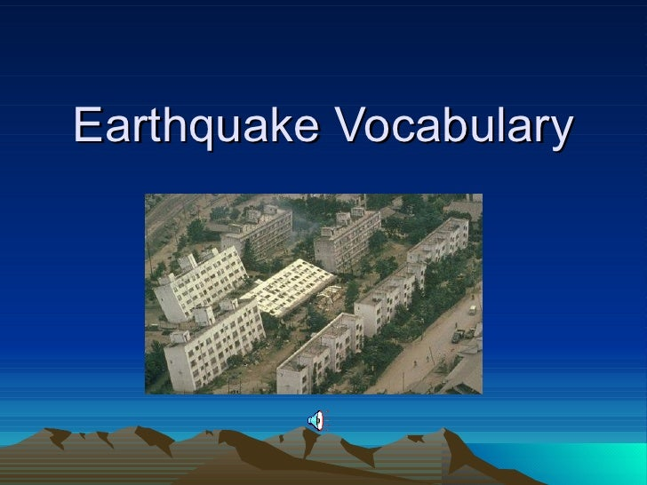 Earthquake Vocabulary