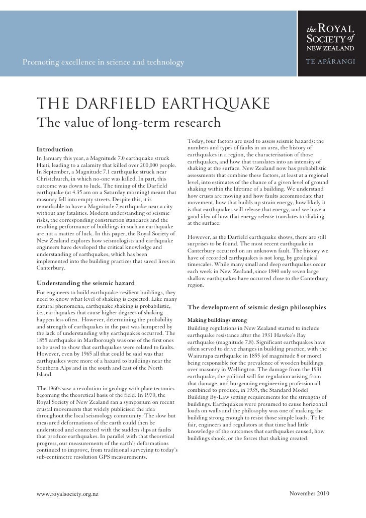 THE DARFIELD EARTHQUAKE—DRAFTThe Darfield EarthquakeThe value of long-term research                                       ...