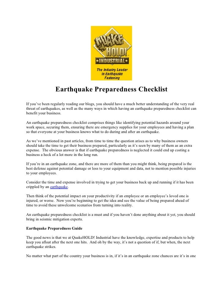 earthquake preparedness press release essay Press release for immediate release september 1, 2016 the goal of scag's earthquake preparedness initiative is to protect the southern california economy.