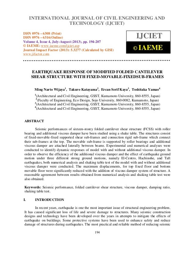 Earthquake response of modified folded cantilever shear structurewith fix