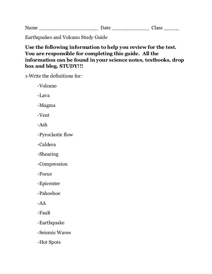 Name ___________________ Date ____________ Class _____Earthquakes and Volcano Study GuideUse the following information to ...
