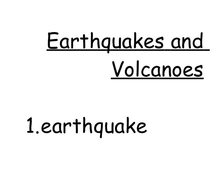 Earthquakes and volcanoes vocabulary