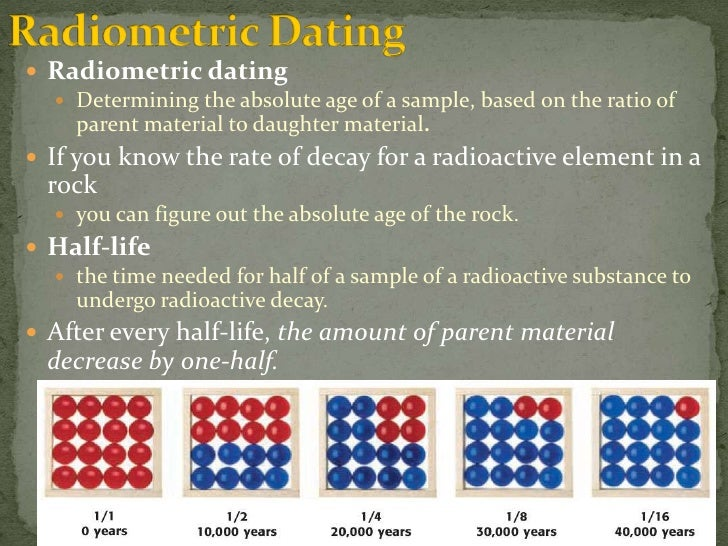 List the types of radiometric dating