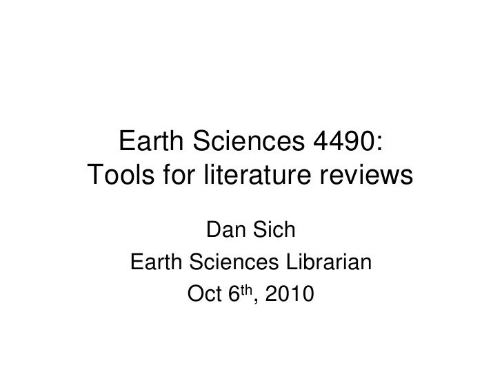 Earth Sciences 4490: Tools for literature reviews