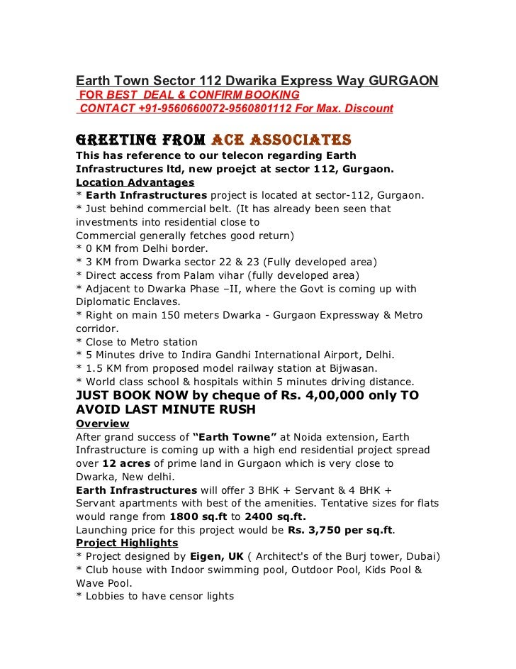 Earth Town Sector 112  gurgaon call 9560660072-9911864313