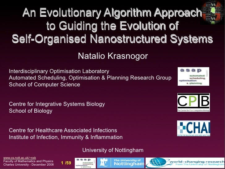 An Evolutionary Algorithm Approach             to Guiding the Evolution of      Self-Organised Nanostructured Systems     ...