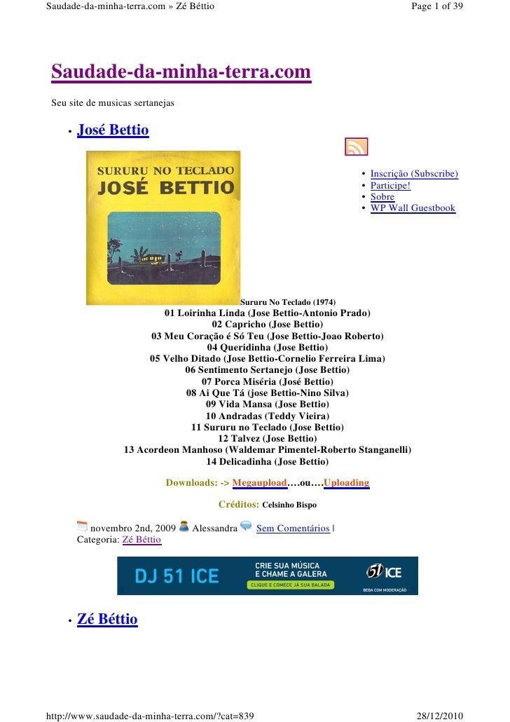 Saudade-da-minha-terra.com » Zé Béttio                                                 Page 1 of 39 Saudade-da-minha-terra...
