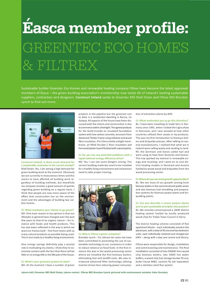 Éasca member profile:  GREENTEC ECO HOMES  & FILTREX Sustainable builder Greentec Eco Homes and renewable hea ng company F...