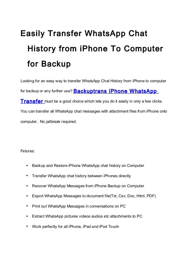 Transfer WhatsApp Chat History From iPhone to Computer With Ease