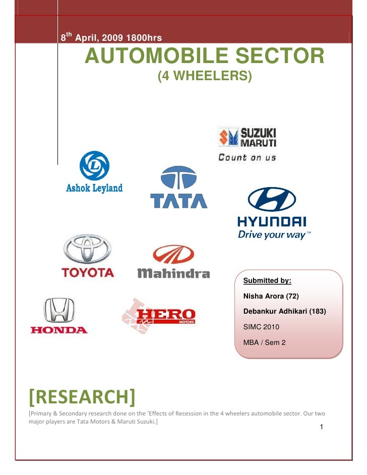 8th April, 2009 1800hrs                      AUTOMOBILE SECTOR                                                (4 WHEELERS)...