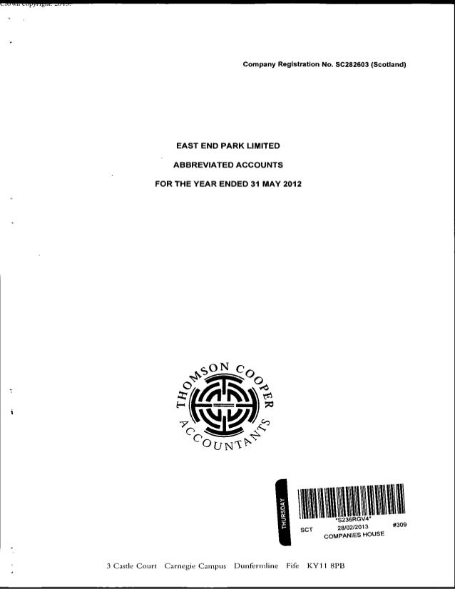 East End Park Limited 2012 Audited Accounts