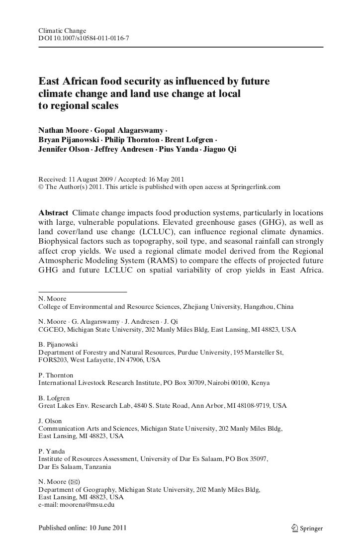 Climatic ChangeDOI 10.1007/s10584-011-0116-7East African food security as influenced by futureclimate change and land use ...