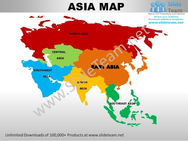 East asia powerpoint editable continent map with countries templates