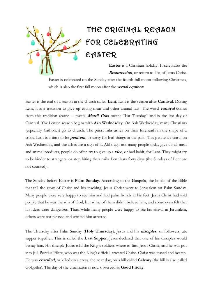 THE ORIGINAL REASON                                      FOR CELEBRATING                                      EASTER      ...